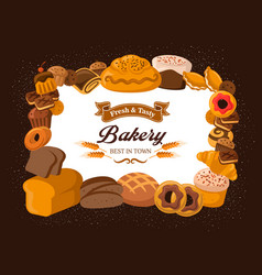bread and bakery food products pastry shop vector image