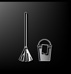 broom and bucket sign gray 3d printed vector image