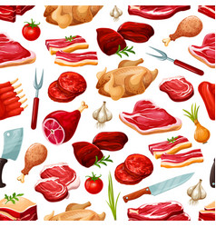 Butcher shop farm meat products pattern vector