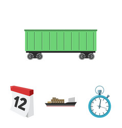 cargo ship stop watch calendar railway car vector image