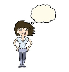 Cartoon woman with hands on hips with thought vector