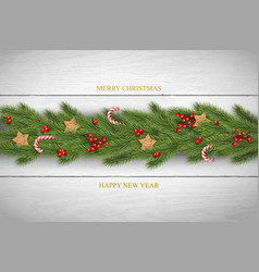 christmas background with wishes pine vector image