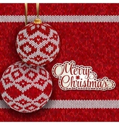 Christmas greeting card with red knitted balls vector image