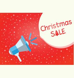 christmas sale red background with megaphone vector image