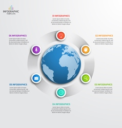 circle infographic template with globe 6 options vector image