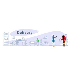 courier man in uniform handing shopping bags to vector image