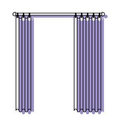 Curtain semi open purple watercolor silhouette on vector