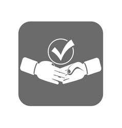 customer service icon with handshake sign vector image vector image