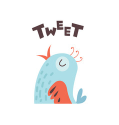 Cute cartoon little bird tweeting vector