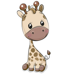 cute giraffe isolated on a white background vector image