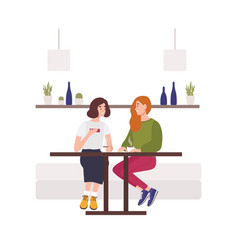 cute young girls sitting on sofa at cafe drinking vector image