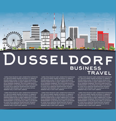 dusseldorf skyline with gray buildings blue sky vector image