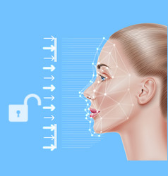Face recognition biometric scanning of girl vector