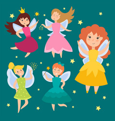 Fairy princess adorable characters imagination vector