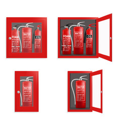 Fire extinguisher in cabinet set isolated vector