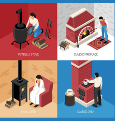Fire place isometric design concept vector