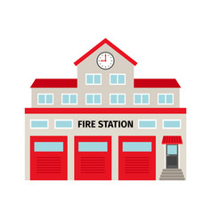 Fire station flat colorful building icon vector