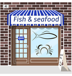 fish and seafood shop vector image