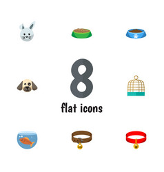 Flat icon animal set of puppy bunny fishbowl and vector