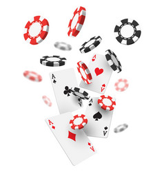 Flying realistic or 3d casino chips and aces cards vector