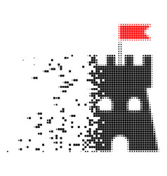 fortress tower damaged pixel icon vector image