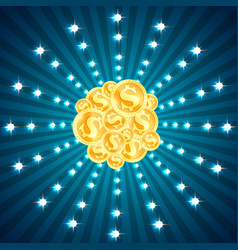 Gold coins set and glittering lights vector