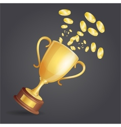 Golden winner cup and coins on dark vector