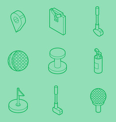 golf outline isometric set vector image