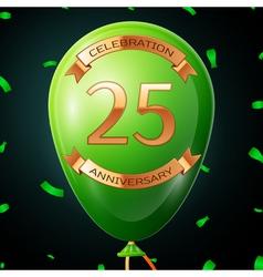 Green balloon with golden inscription twenty five vector