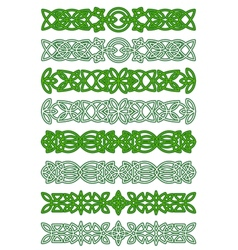Green celtic ornament elements vector image