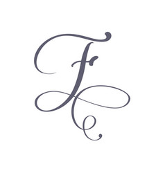 Hand drawn calligraphic floral f monogram vector