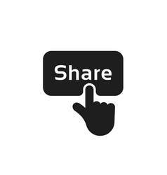 Hand press on black share button vector