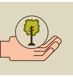Hands care environment ecology vector