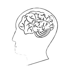 Head human brain thinking idea sketch vector