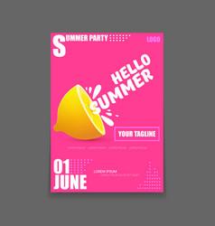 hello summer beach party vertical a4 poster vector image