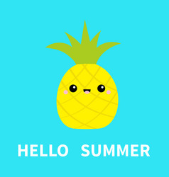hello summer pineapple fruit icon leaf cute vector image