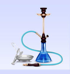 Hookah smoking accessories realistic set vector