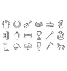 Horseback riding gear icon set outline style vector