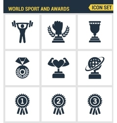 Icons set premium quality of Sport and awards vector image