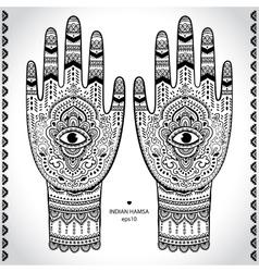 Indian hand drawn hamsa symbol ornament vector image