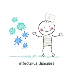 Infectious diseases stands next to infection vector