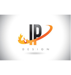 ip i p letter logo with fire flames design and vector image