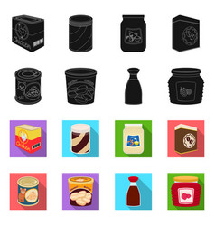 Isolated object of can and food symbol collection vector