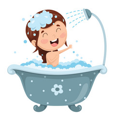 Kid bathing vector