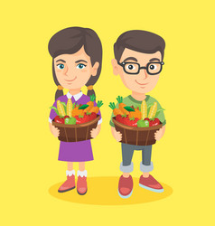 Kids holding basket with fruit and vegetables vector