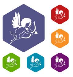 Love cupid icons set hexagon vector