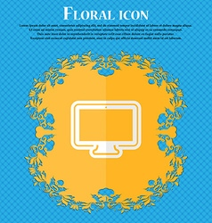 Monitor Floral flat design on a blue abstract vector