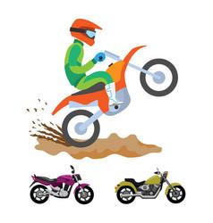 Motorbike riding hobby man wearing safety helmet vector