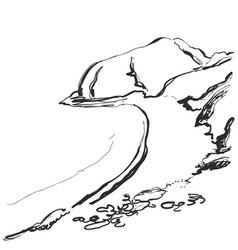Mountains sketch hand drawn rocks vector