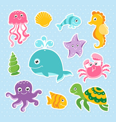 ocean set with cute sea animals vector image